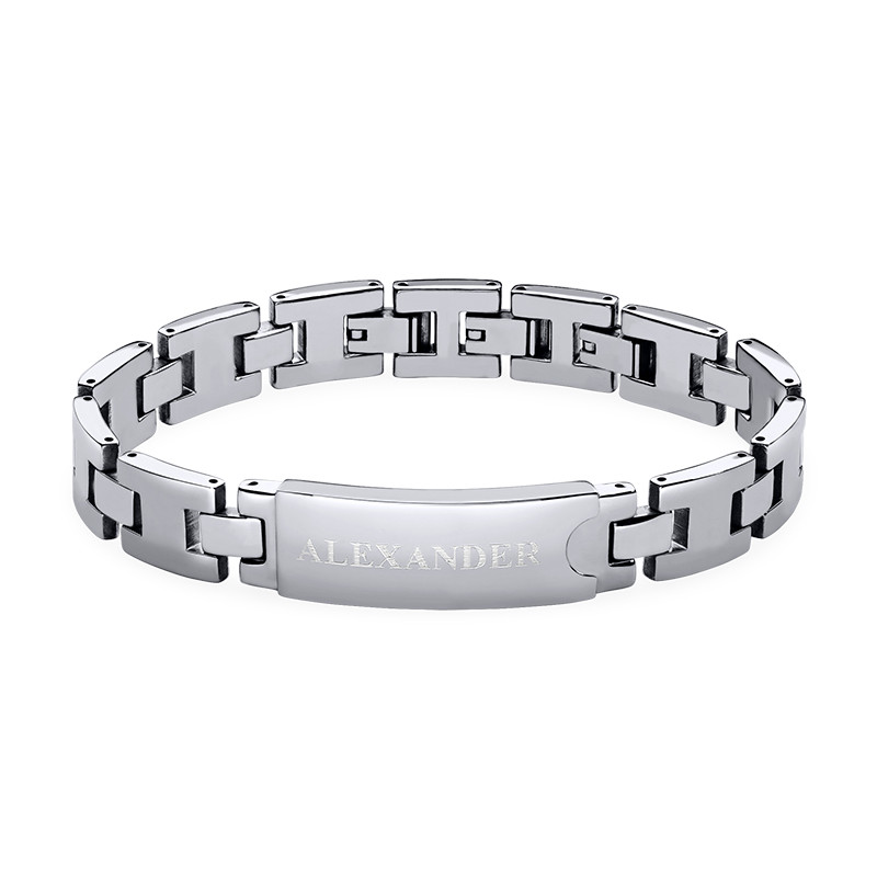 Stainless Steel Mens Bracelet with Engraving