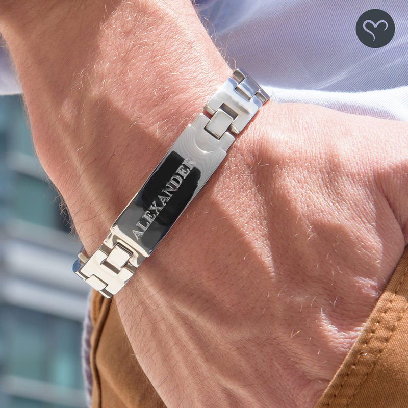 Stainless Steel Mens Bracelet with Engraving - 3