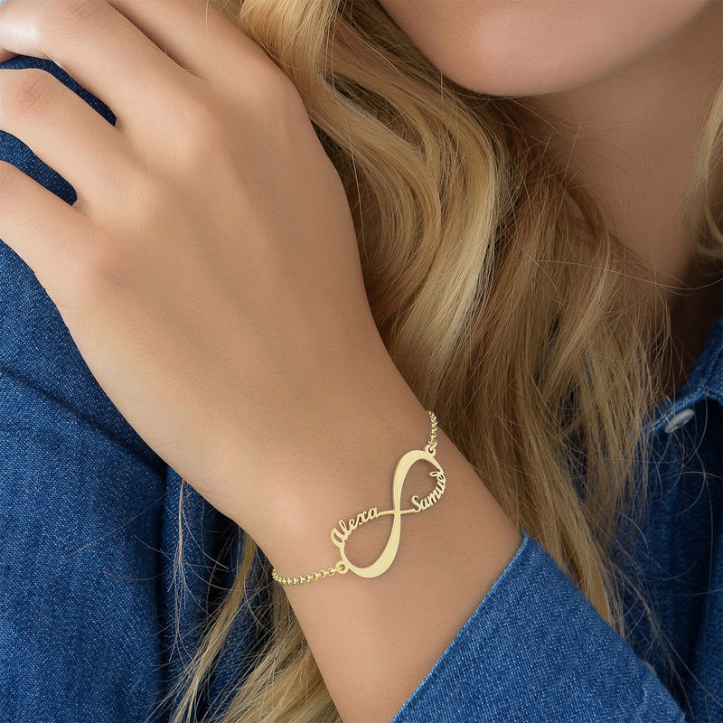 Infinity Bracelet with Names - 18K Gold Plated - 4