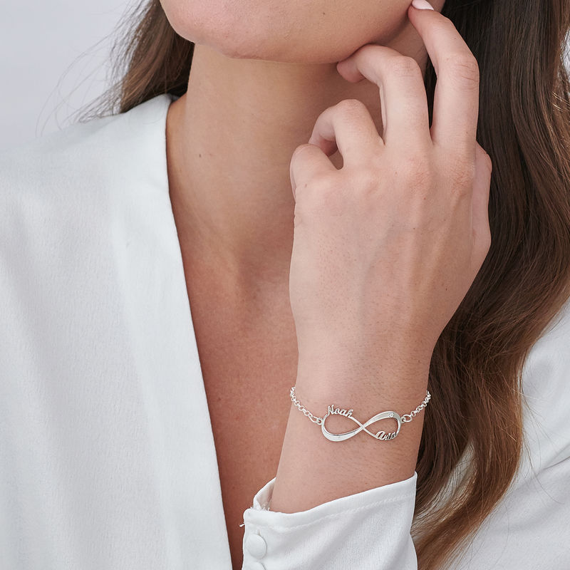 Personalized Infinity Bracelet in Sterling Silver with Diamond - 2