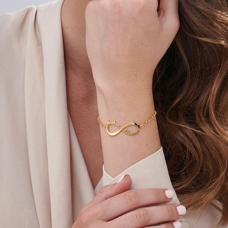 Personalized Infinity Bracelet in Gold Plating with Diamond - 2