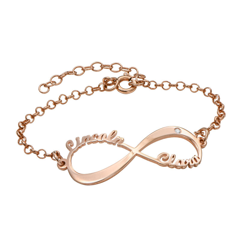 Personalized Infinity Bracelet in Rose Gold Plating with Diamond