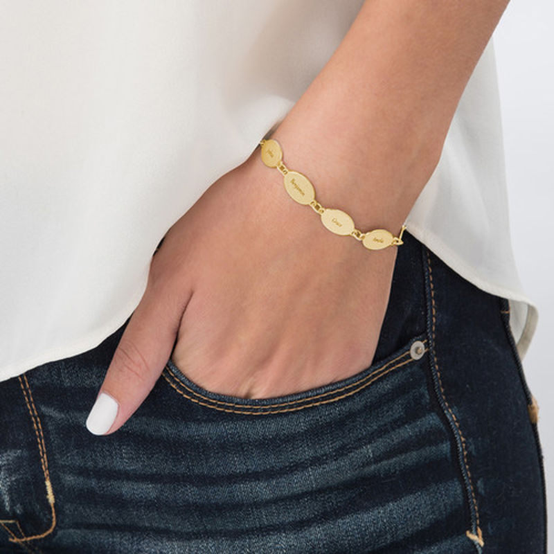 Gold Plated Adjustable Mom Bracelet with Kids Names - Oval Design - 2