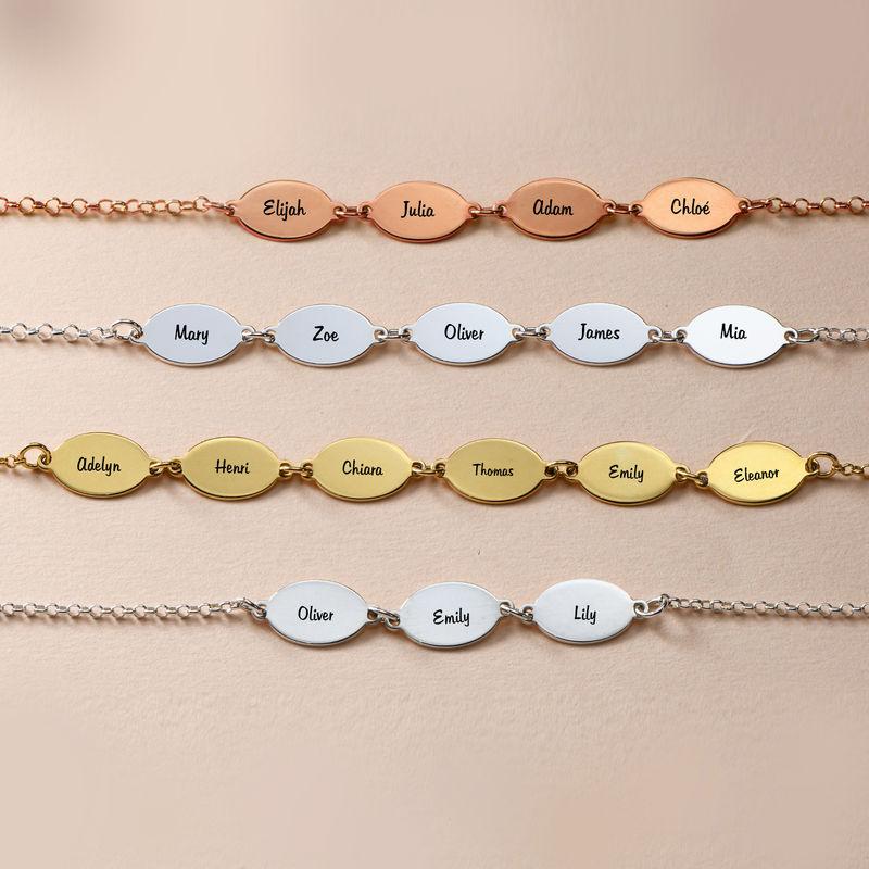 Gold Plated Adjustable Mom Bracelet with Kids Names - Oval Design - 3