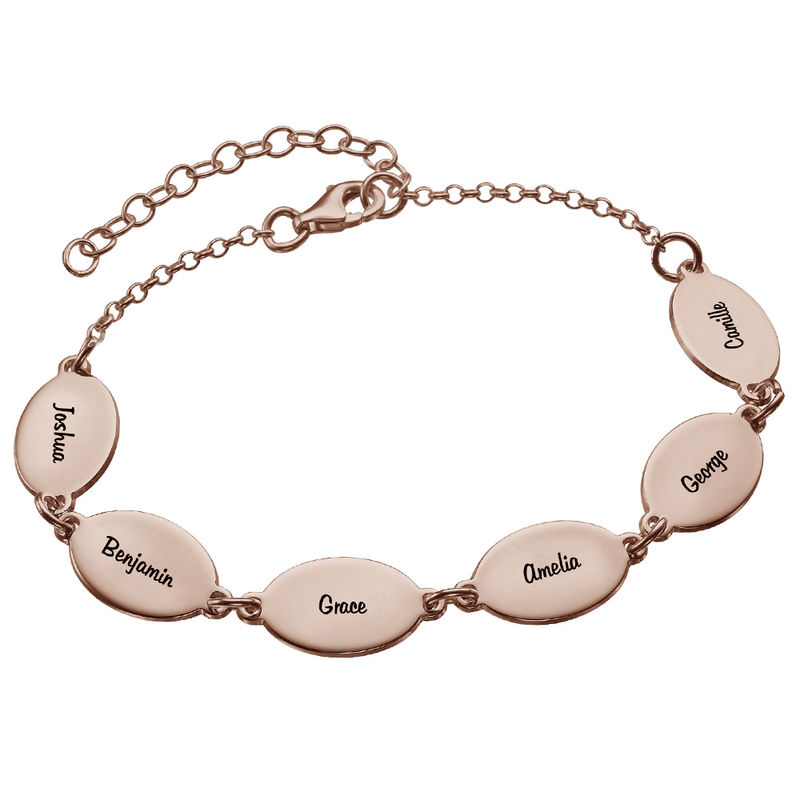 Rose Gold Plated Mom Bracelet with Kids Names - Oval Design