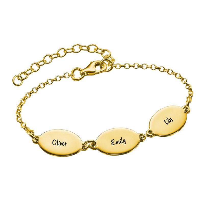 Vermeil Mom Bracelet with Kids Names - Oval Design - 1