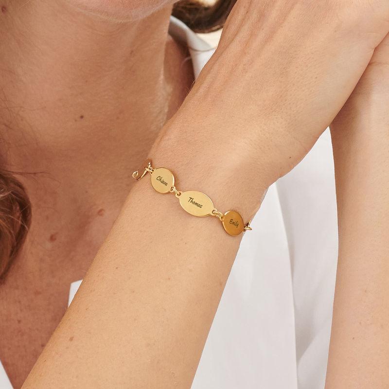 Vermeil Mom Bracelet with Kids Names - Oval Design - 4