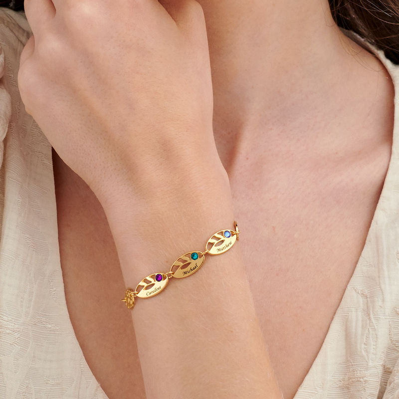 Mother Leaf Bracelet with Engraving in Gold Plating - 2