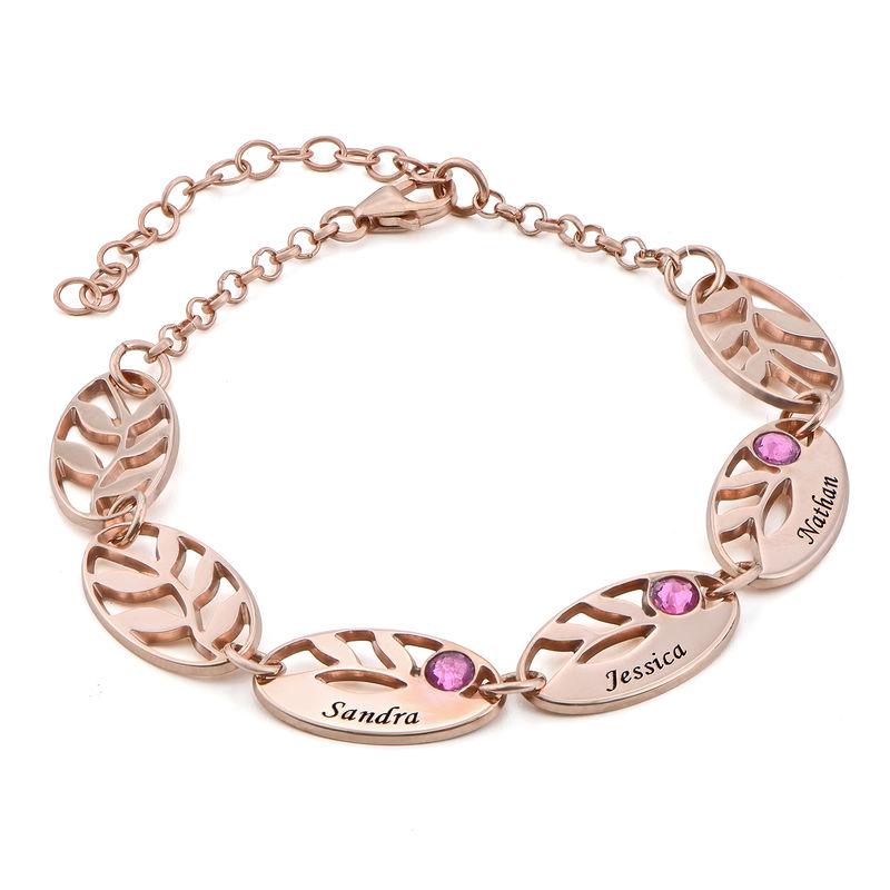Mother Leaf Bracelet with Engraving in Rose Gold Plating
