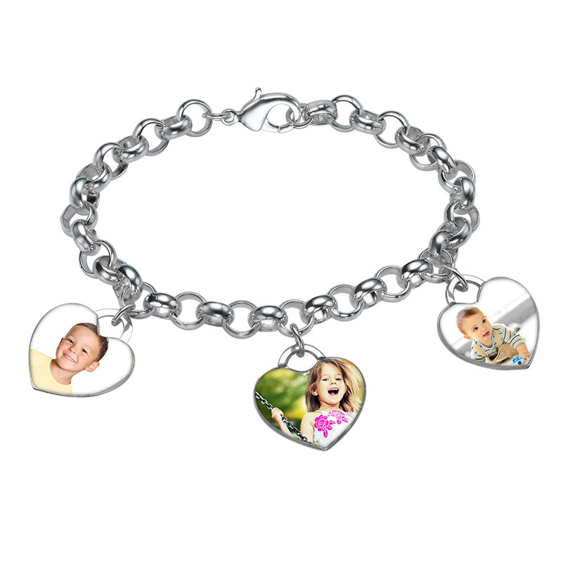 Heart Shaped Photo Charm Bracelet