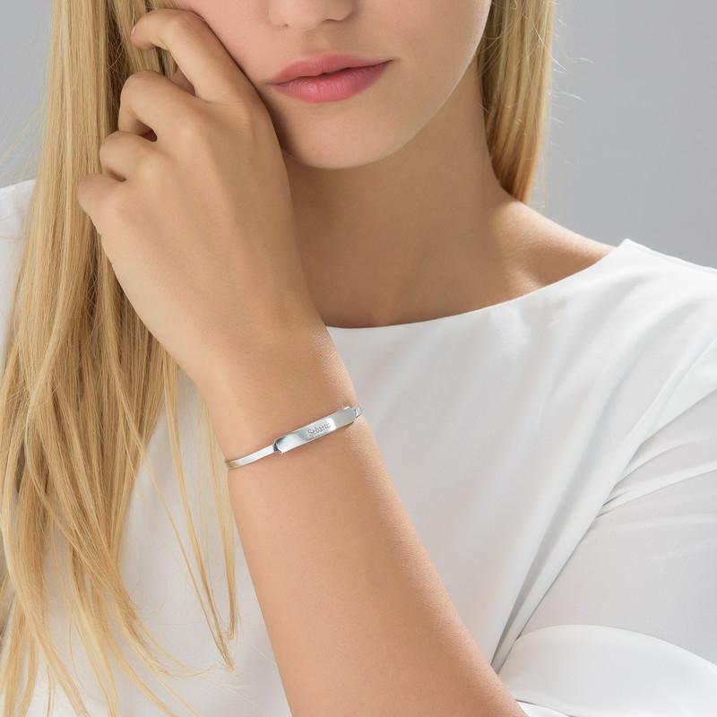 Open Name Bangle Bracelet in Silver - 1