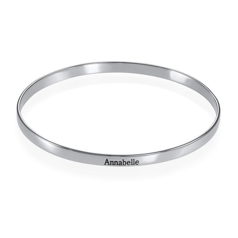 Engraved Bangle Bracelet in Silver