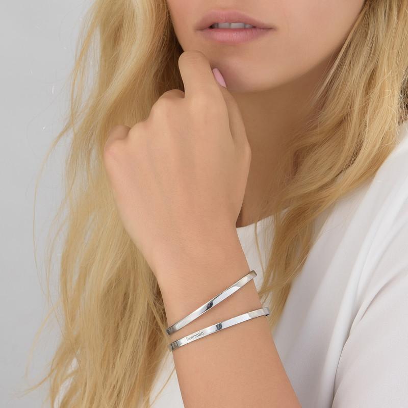 Engraved Bangle Bracelet in Silver - 1