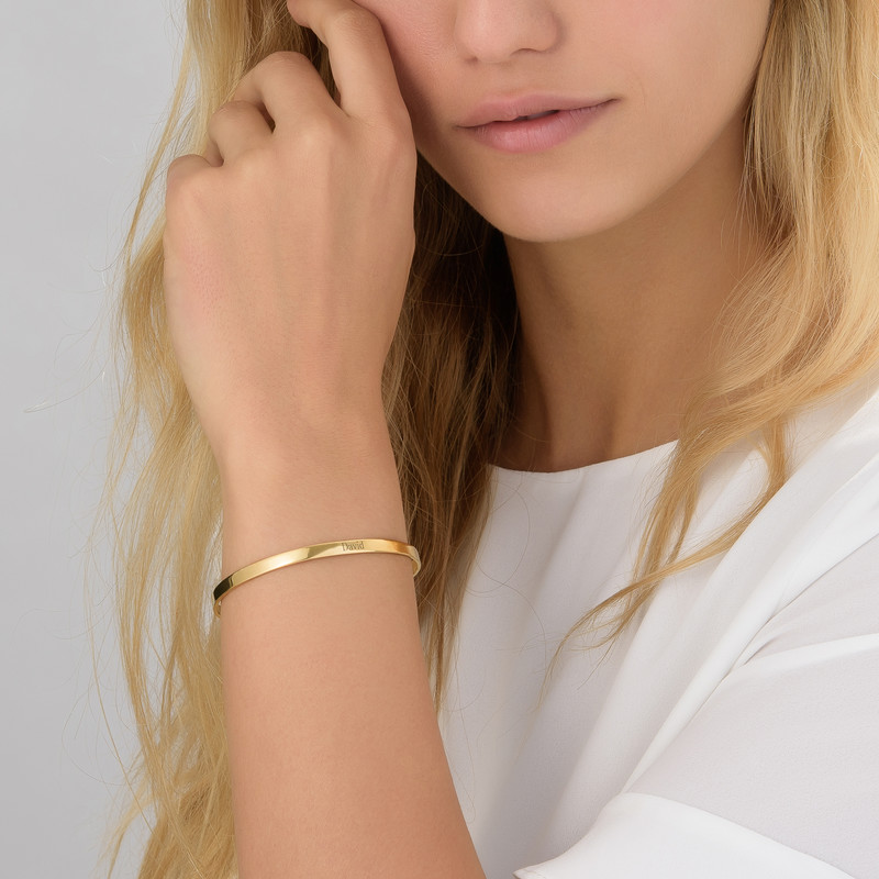 18k Gold-Plated Engraved Bangle Bracelet - 1