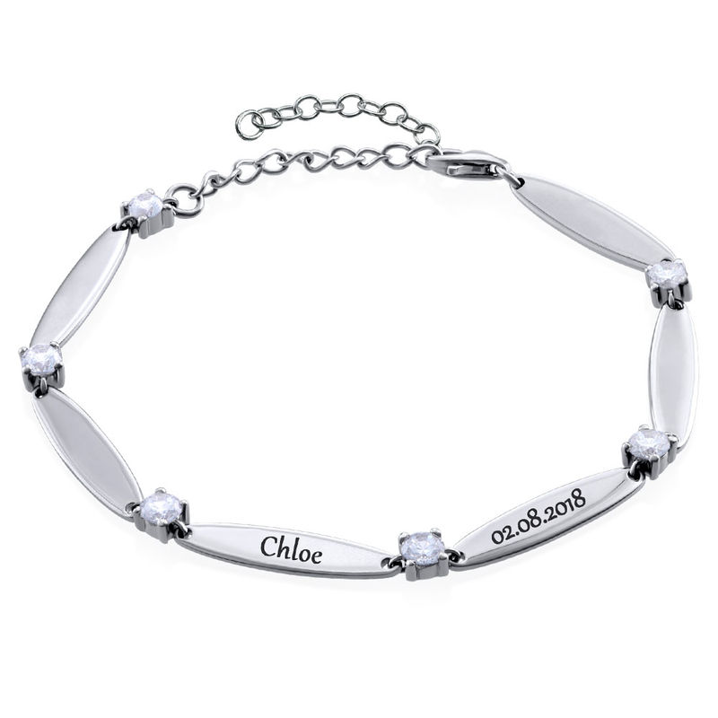Engraved Mother Bracelet with Cubic Zirconia in Sterling Silver - 1