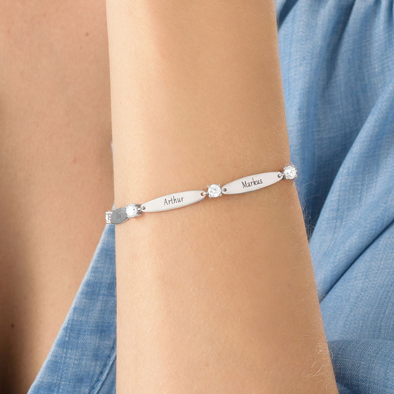 Engraved Mother Bracelet with Cubic Zirconia in Sterling Silver - 3