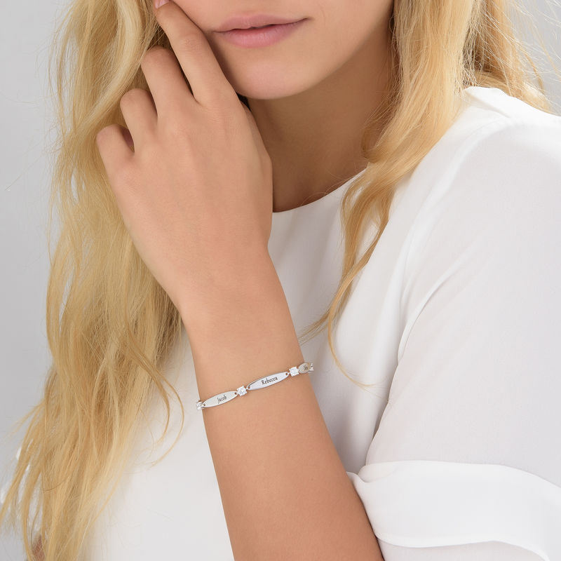 Engraved Mother Bracelet with Cubic Zirconia in Sterling Silver - 4