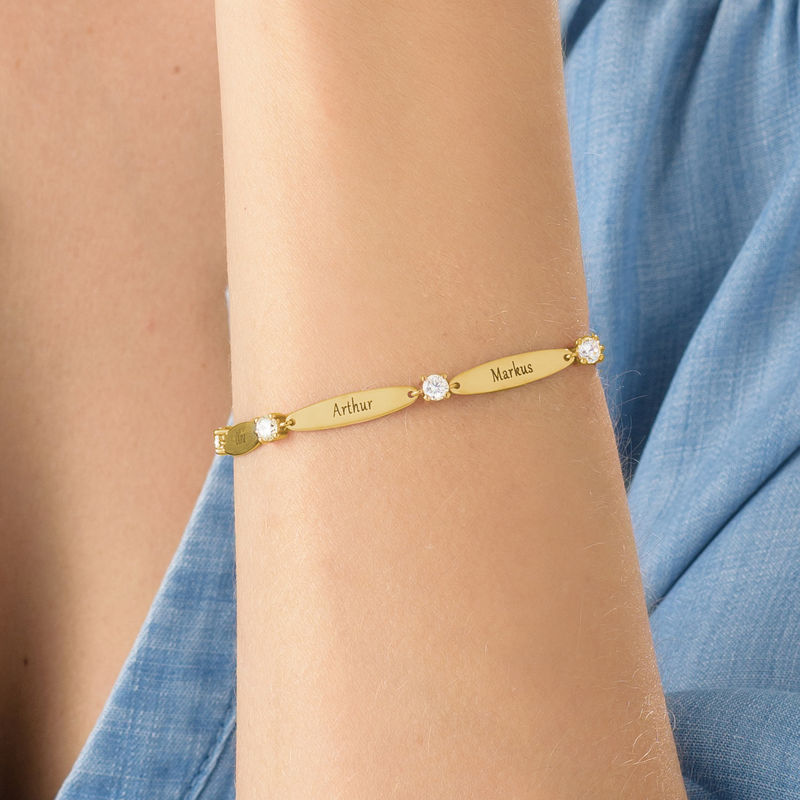 Engraved Mother Bracelet with Cubic Zirconia in Gold Plating - 3