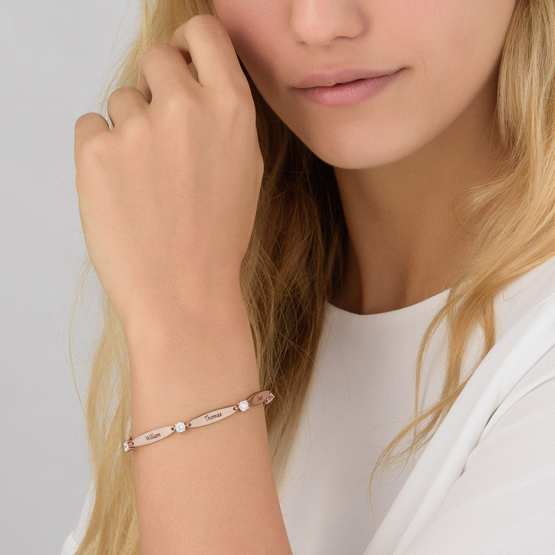 Engraved Mother Bracelet with Cubic Zirconia in Rose Gold Plating - 4