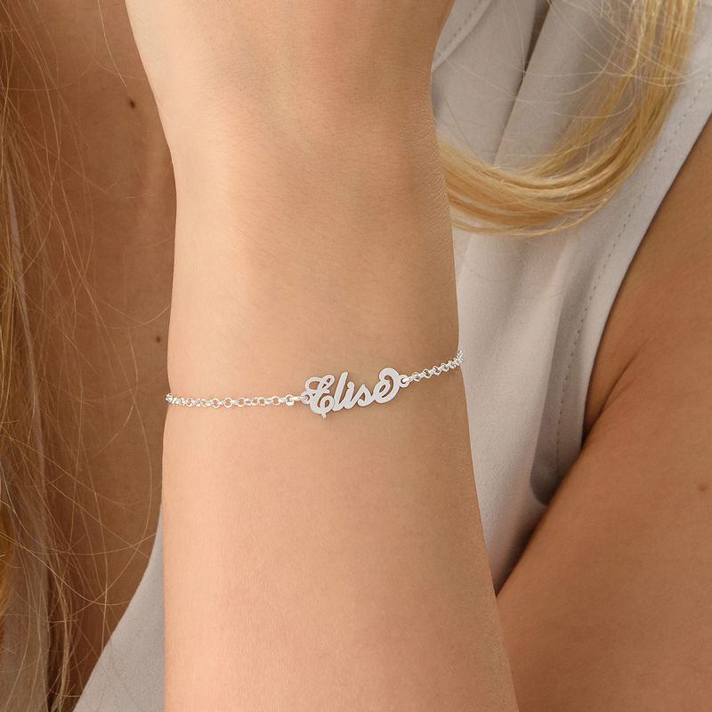 Tiny Sterling Silver Carrie Style Name Bracelet - 2