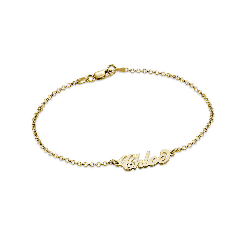Tiny 18k Gold-Plated Carrie Personalized Bracelet