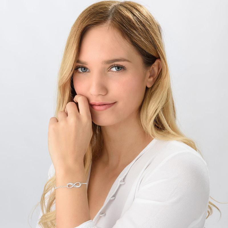 Infinity Sterling Silver Diamond Bracelet - 1