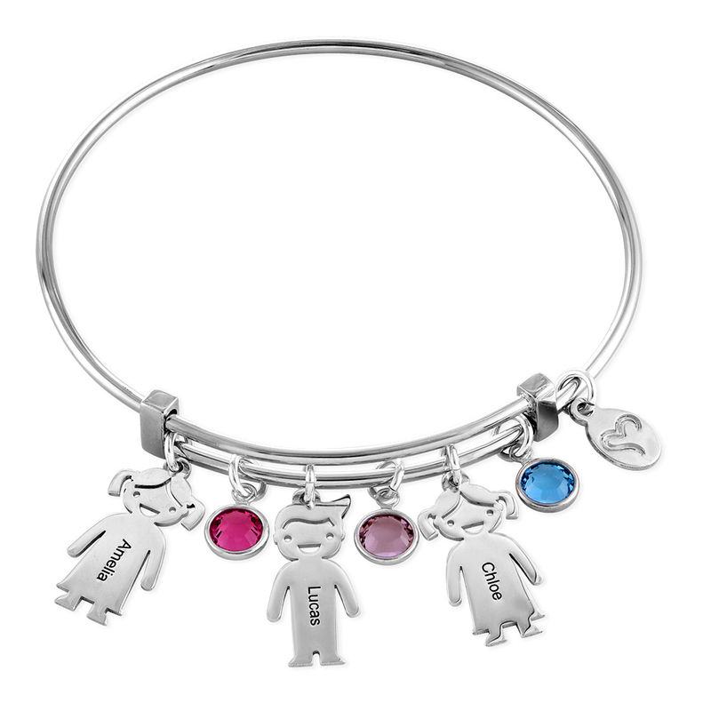 Silver Bangle Bracelet with Kids Charms