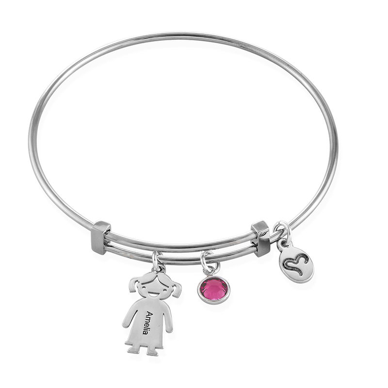 Silver Bangle Bracelet with Kids Charms - 1
