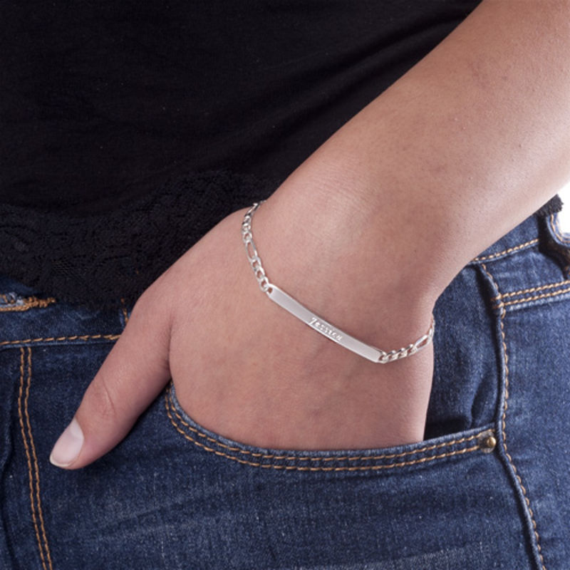 Sterling Silver ID Bracelets set for Men and Women - 3