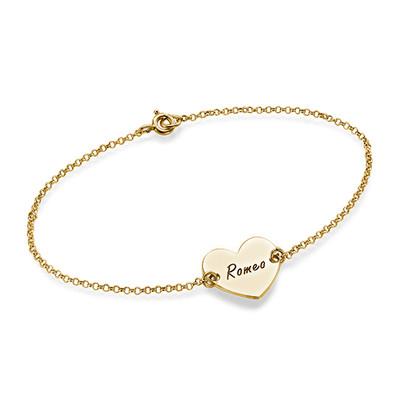 Engraved Heart Couples Bracelet in 18k Gold Plating