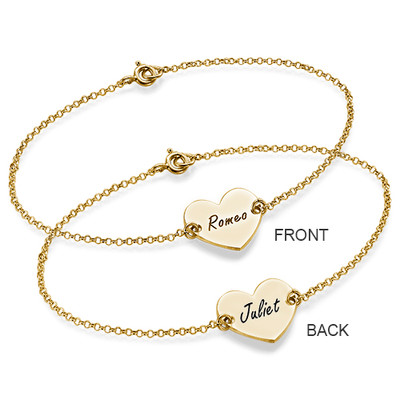 Engraved Heart Couples Bracelet in 18k Gold Plating - 2