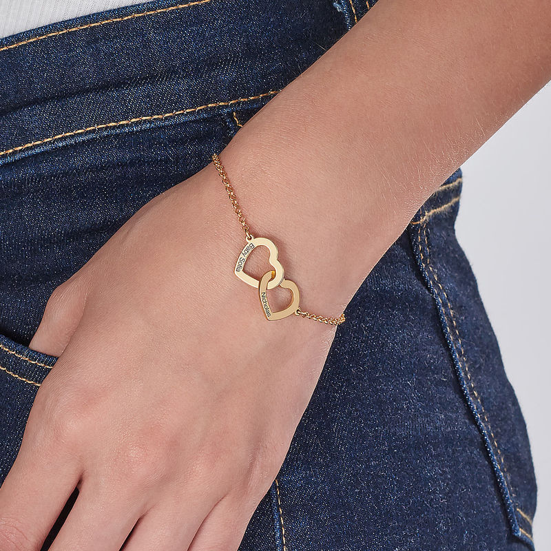 Interlocking Hearts Bracelet with 18K Gold Plating - 3