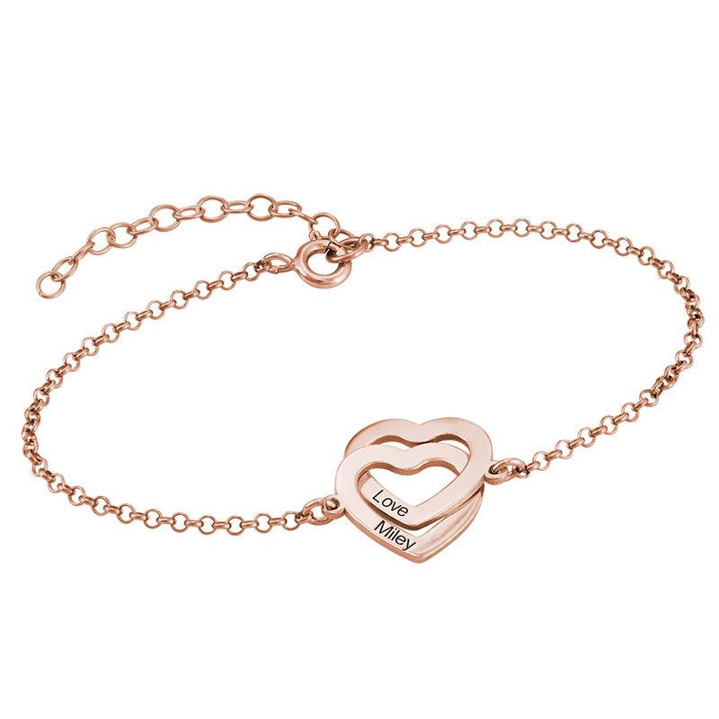 Interlocking Hearts Bracelet with 18K Rose Gold Plating