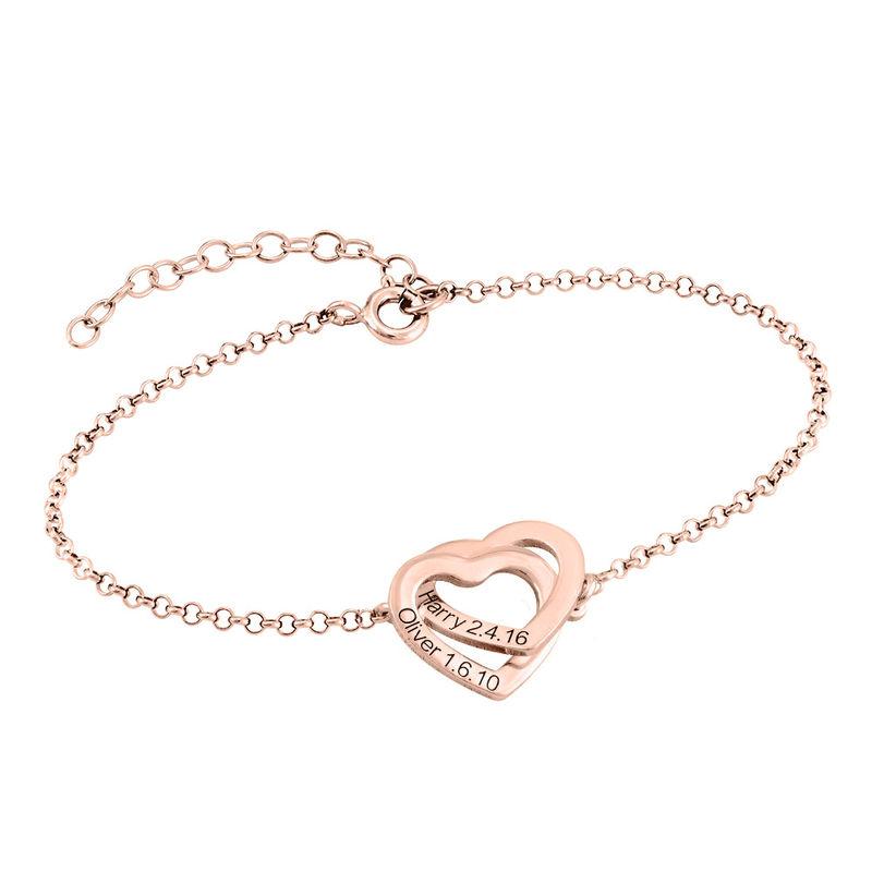 Interlocking Hearts Bracelet with 18K Rose Gold Plating - 1