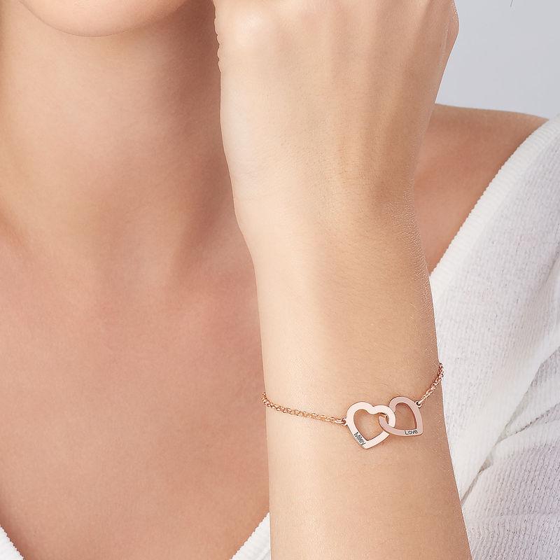 Interlocking Hearts Bracelet with 18K Rose Gold Plating - 3