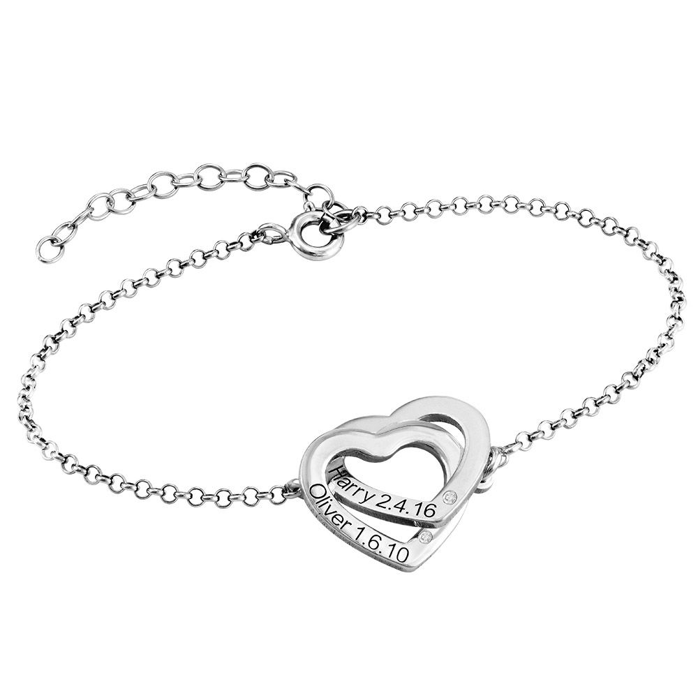 Diamond Interlocking Adjustable Hearts Bracelet in Sterling Silver