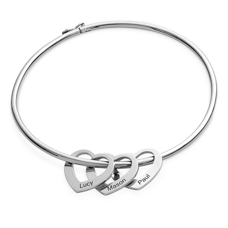 Bangle Bracelet with Heart Shape Pendants in Silver - 1