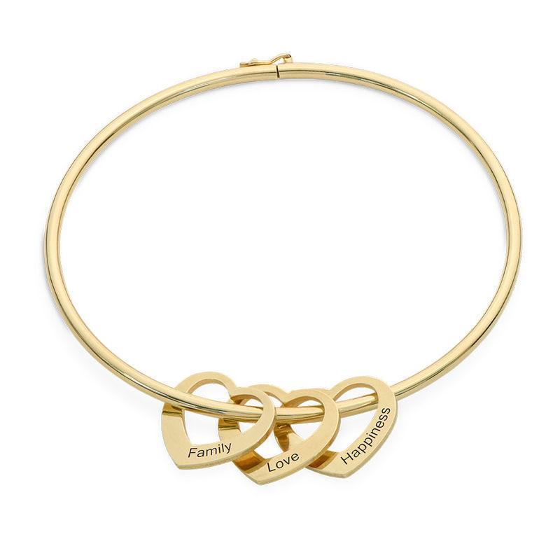 Bangle Bracelet with Heart Shape Pendants in Vermeil