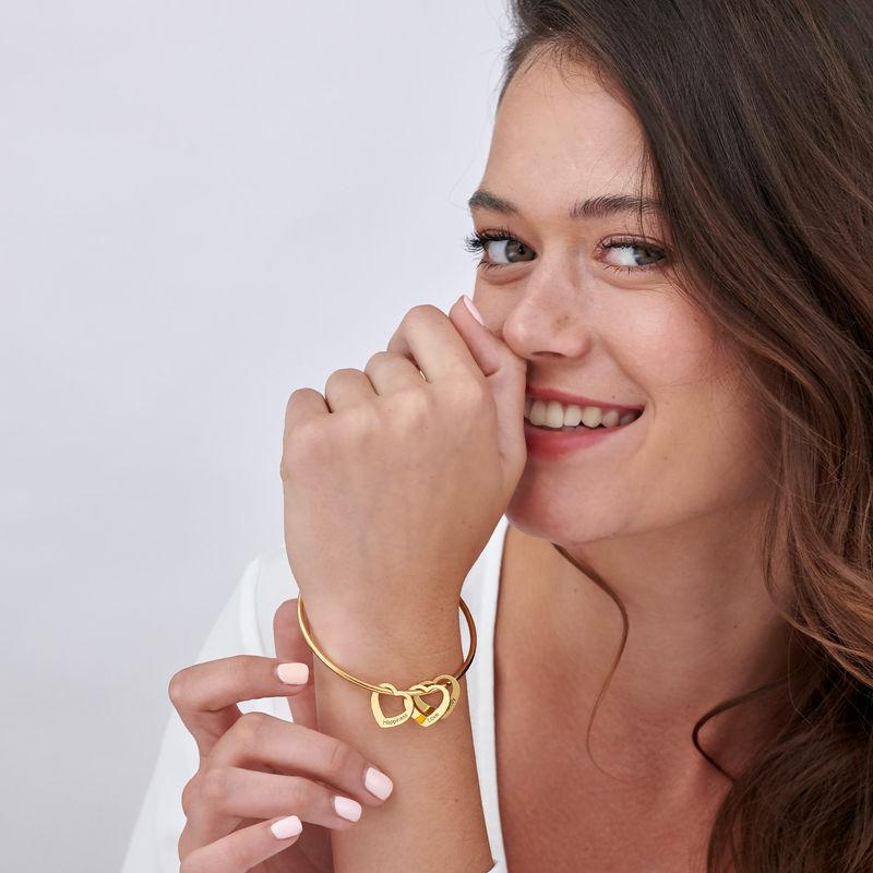 Bangle Bracelet with Heart Shape Pendants in Vermeil - 2