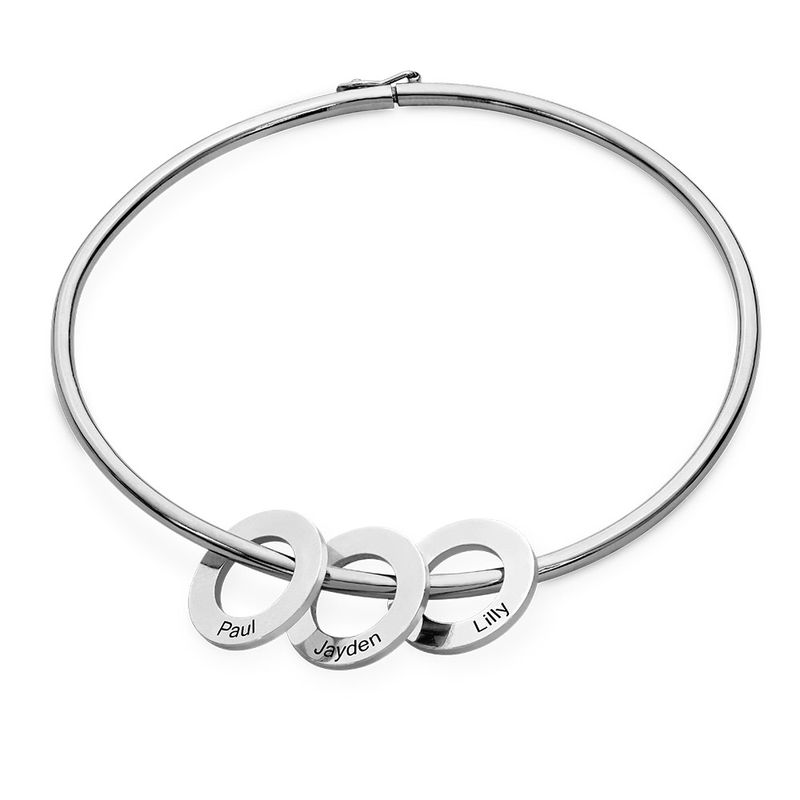Bangle Bracelet with Round Shape Pendants in silver - 1
