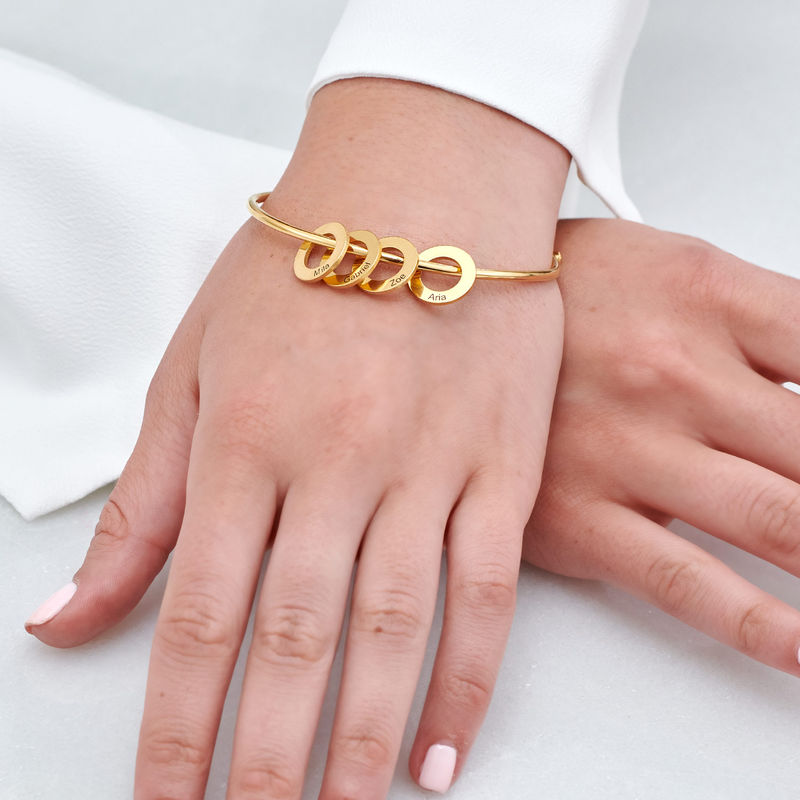 Bangle Bracelet with Round Shape Pendants in Vermeil - 3