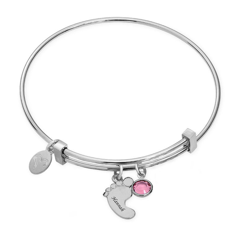 Baby Feet Bangle Bracelet with Birthstones - 1