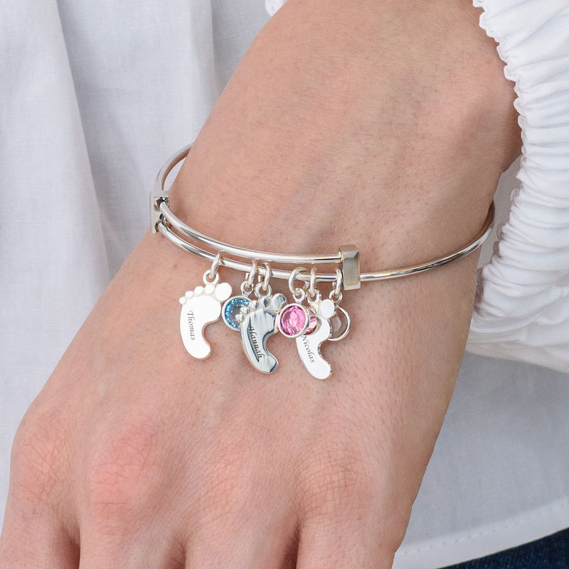 Baby Feet Bangle Bracelet with Birthstones - 3