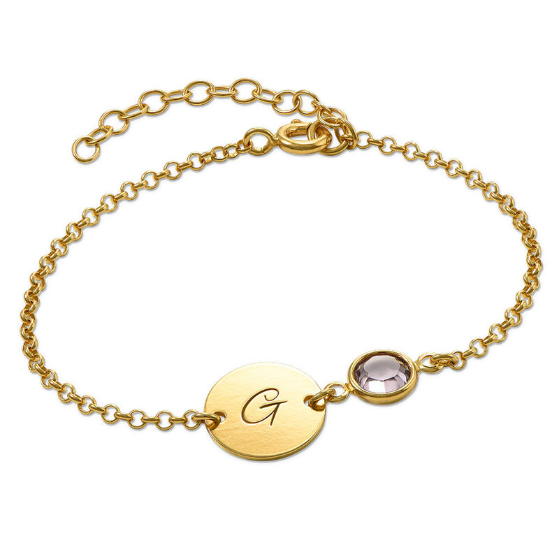 Adjustable Initial Bracelet with Birthstone in Gold Plating