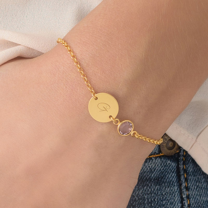 Adjustable Initial Bracelet with Birthstone in Gold Plating - 2
