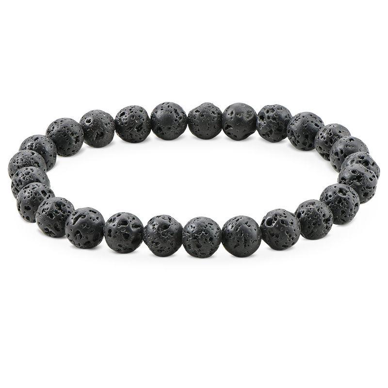: Lava Stone Men's Beaded Bracelet