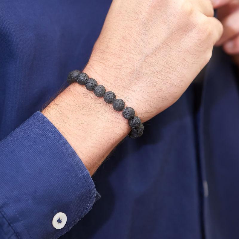 : Lava Stone Men's Beaded Bracelet - 1