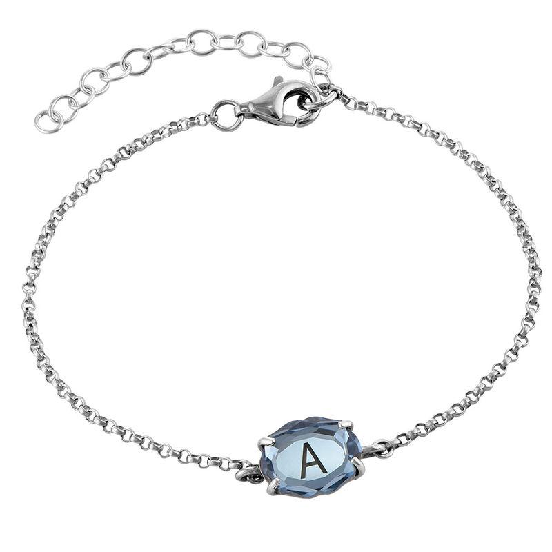Stone Engraved Bracelet in Silver