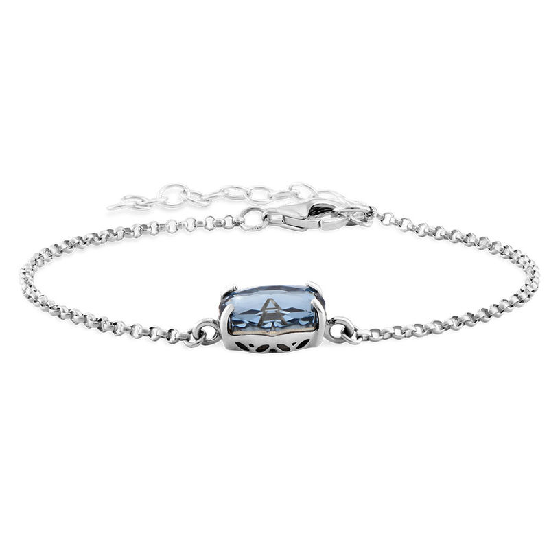 Stone Engraved Bracelet in Silver - 1