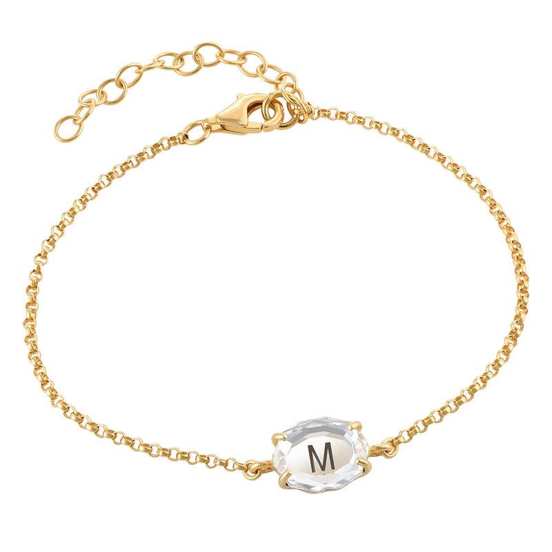 Stone Engraved Bracelet in Gold Plating